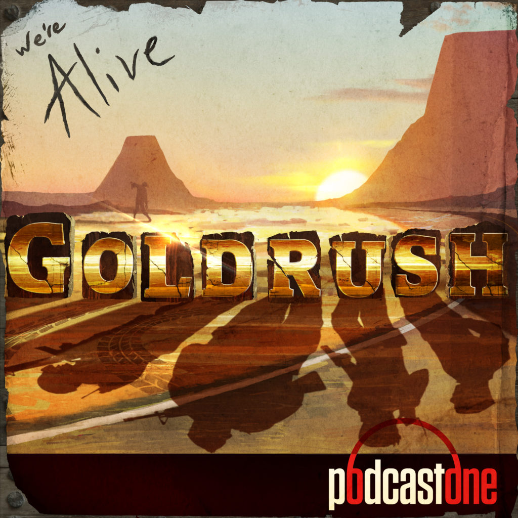 "The shadows of four soldiers can be seen in the word ""Gold Rush"", as the sun appears to be fading out of sight. Two large mountains are in the distance - with a staggering zombie appearing much nearer."
