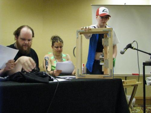 Atlanta Radio Theater Company members practice Foley during the comics track at Dragoncon, 2014.