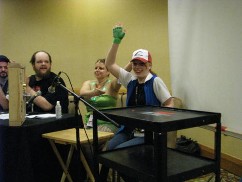 Atlanta Radio Theater Company members practice Foley during the comics track at Dragoncon, 2014.