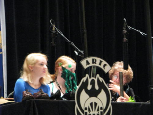 Atlanta Radio Theater Company's Giuliana Ward, Mary Ward, and Sonya Arundar present live foley at DragonCon, 2014.